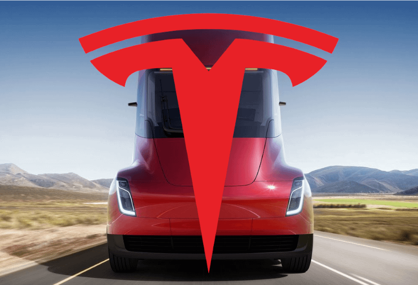 tesla semi truck image with logo white paper white background